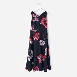ann taylor  floral bow back midi dress